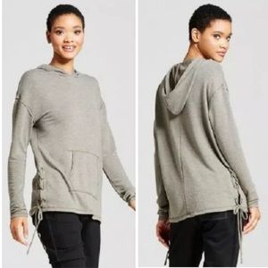 Mossimo Gray Lace Up Size Hooded Sweatshirt